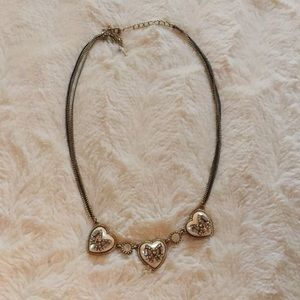 Betsey Johnson Three Heart and Bow Necklace
